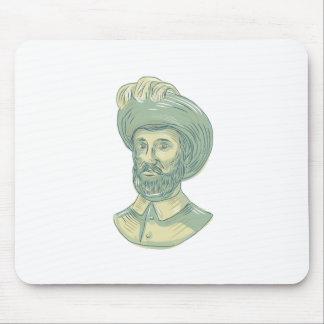 Mousepad Desenho do busto de Juan Sebastian Elcano