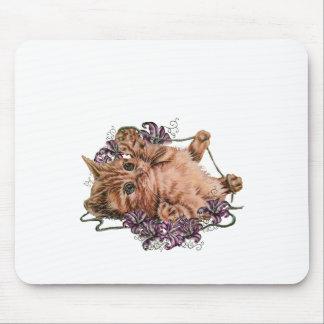 Mousepad Desenho do gatinho como o gato com corda e os
