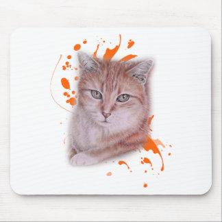 Mousepad Desenho do gato e da pintura alaranjados de gato