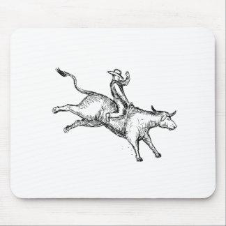 Mousepad Desenho do vaqueiro do rodeio da equitação de Bull