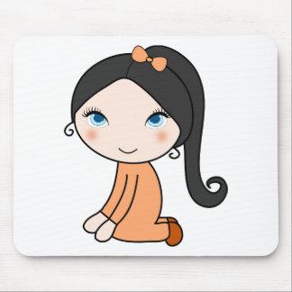 Mousepad Desenhos animados da menina do cabelo da trança