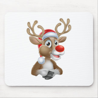 Mousepad Desenhos animados da rena do Natal com chapéu do