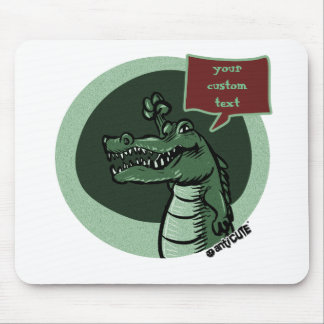 Mousepad desenhos animados verdes do crocodilo com bolha do