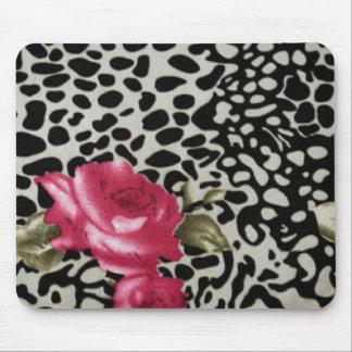 Mousepad Design animal do leopardo branco cor-de-rosa do