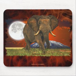 Mousepad Design da arte da lua do elefante africano & do