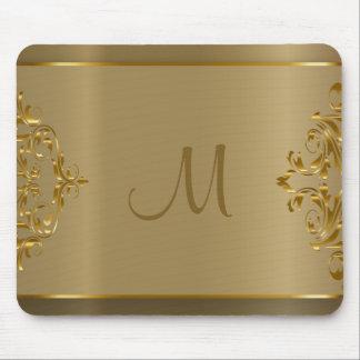 Mousepad Design de Orante do ouro do monograma