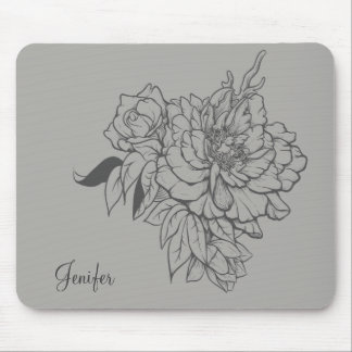 Mousepad Design floral cinzento elegante