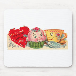Mousepad Dia dos namorados retro do cupcake e do Teacup do