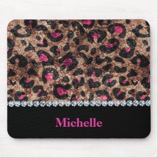 Mousepad Diamante animal do rosa chique do leopardo