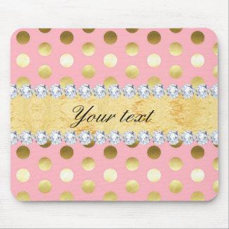 Mousepad Diamantes cor-de-rosa das bolinhas da folha de