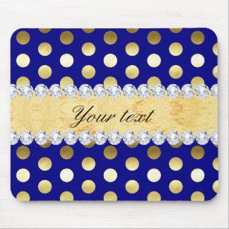 Mousepad Diamantes das bolinhas da folha de ouro do marinho