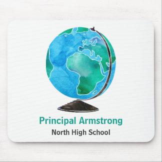 Mousepad Director de escola personalizado globo da aguarela
