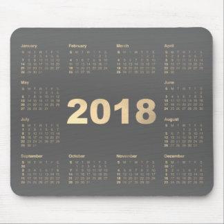 Mousepad Do ouro cinzento do falso do calendário 2018