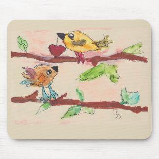 Mousepad Dois pássaros em um tapete do rato do ramo