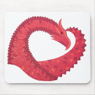 Mousepad Dragão vermelho do coração no branco