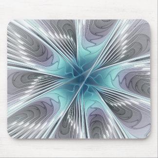 Mousepad Elegância, flor azul moderna do Fractal do branco