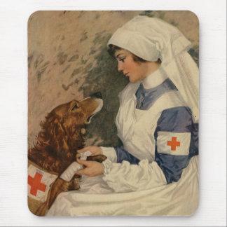 Mousepad Enfermeira com vintage 1917 do golden retriever