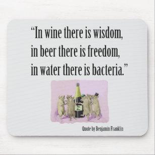 Mousepad engraçado - Franklin, vinho, cerveja e po