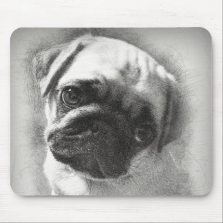 Mousepad Esboço do cão de filhote de cachorro do Pug