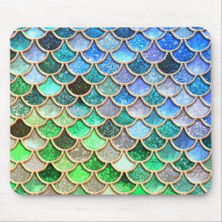 Mousepad Escalas brilhantes azuis verdes da sereia do