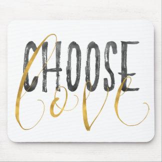 Mousepad Escolha citações inspiradas do preto do ouro do