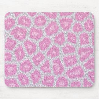 Mousepad Estilo do leopardo de neve - rosa de prata