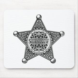 Mousepad Estilo gravado crachá da estrela do xerife