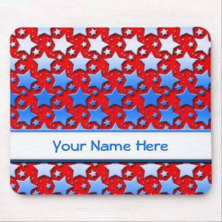 Mousepad Estrelas brancas azuis no vermelho