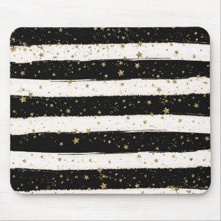 Mousepad Estrelas brancas pretas do brilho do ouro das