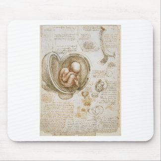 Mousepad Estudos de Leonardo da Vinci do feto no ventre