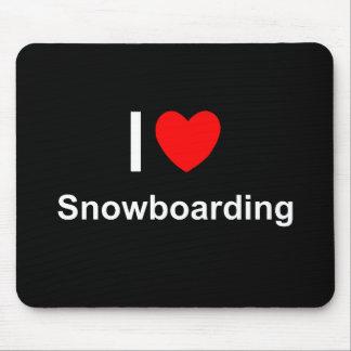 Mousepad Eu amo a snowboarding do coração