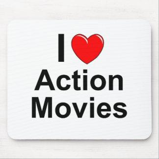 Mousepad Eu amo filmes de ação do coração