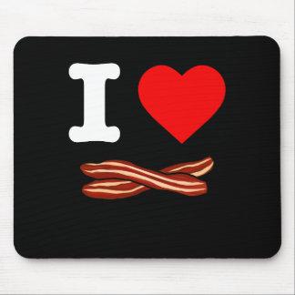 Mousepad Eu amo o coração fritado friável da vida do bacon