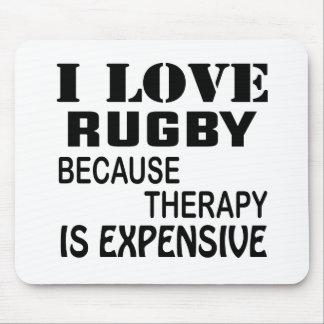Mousepad Eu amo o rugby porque a terapia é cara