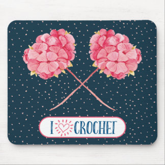 Mousepad Eu amo o tapete do rato do Crochet