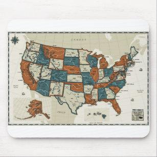 Mousepad EUA - Mapa do vintage