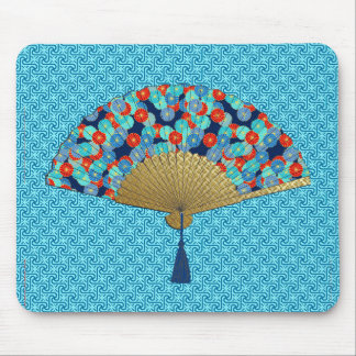 Mousepad Fã de Deco - flores no cobalto, na turquesa e no