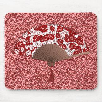 Mousepad Fã japonês no impressão da folha, na obscuridade -