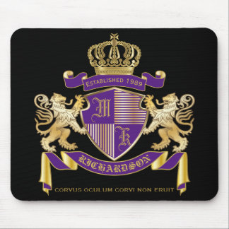 Mousepad Faça seu próprio emblema da coroa do monograma da