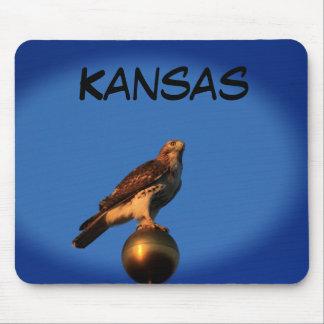 Mousepad Falcão de Kansas em um tapete do rato de pólo de