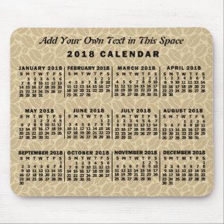 Mousepad Feijões de café mensais do calendário de 2018 anos