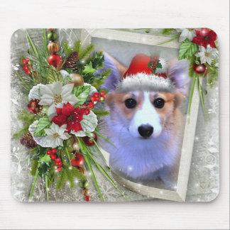 Mousepad Filhote de cachorro do Corgi do Natal no quadro