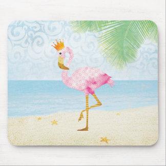Mousepad Flamingo da aguarela com coroa real