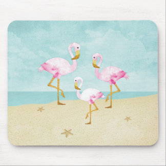 Mousepad Flamingos cor-de-rosa da aguarela na praia