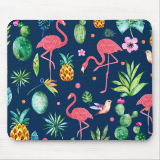 Mousepad Flamingos cor-de-rosa & teste padrão tropical das