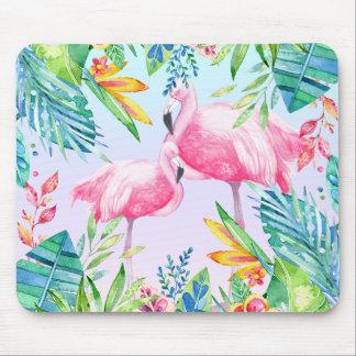 Mousepad Flamingos & flores tropicais coloridas