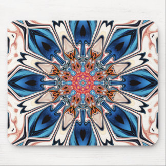 Mousepad Flor azul e alaranjada abstrata