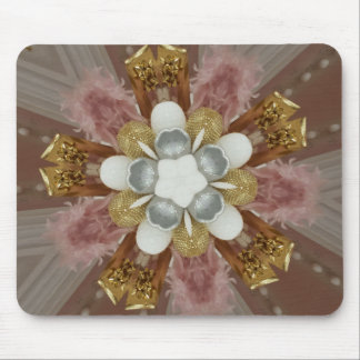 Mousepad Flor branca do ouro cor-de-rosa antigo elegante
