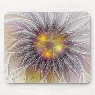 Mousepad Flor colorida luminosa, Fractal moderno abstrato