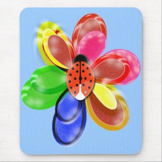 Mousepad flor de incandescência colorida com a almofada